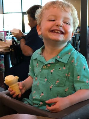 toddler with an ice cream cone
